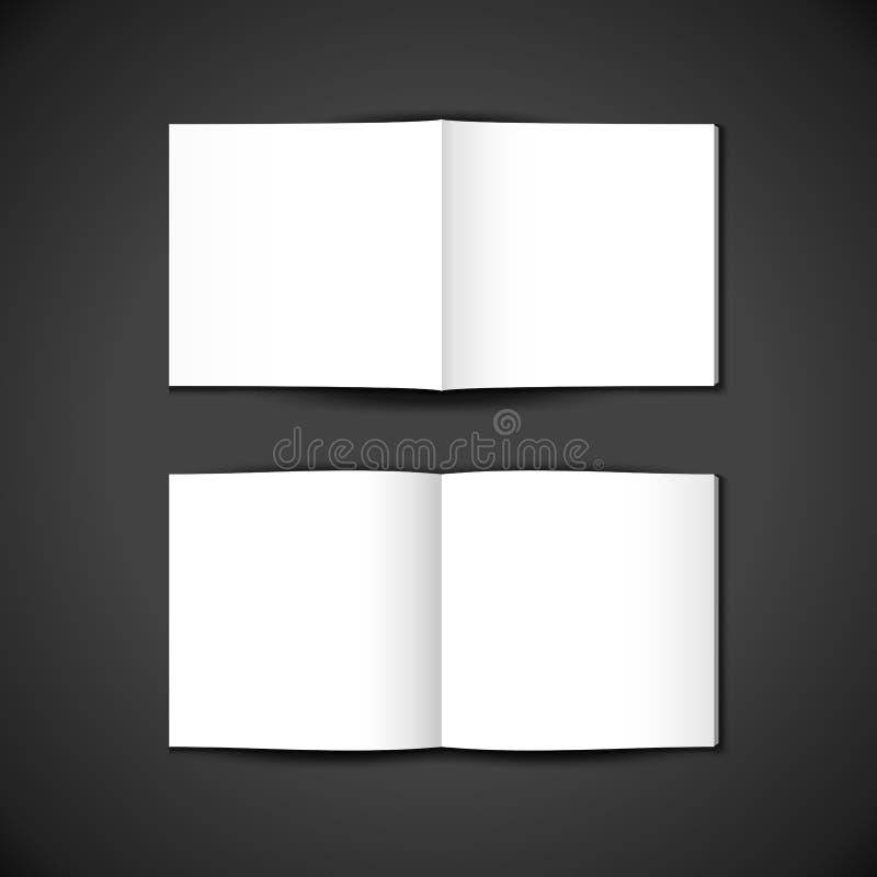 被打开的小册子内部和外在纸正方形盖子的传染媒介白色空白的嘲笑,展开了小册子,杂志例证 库存例证