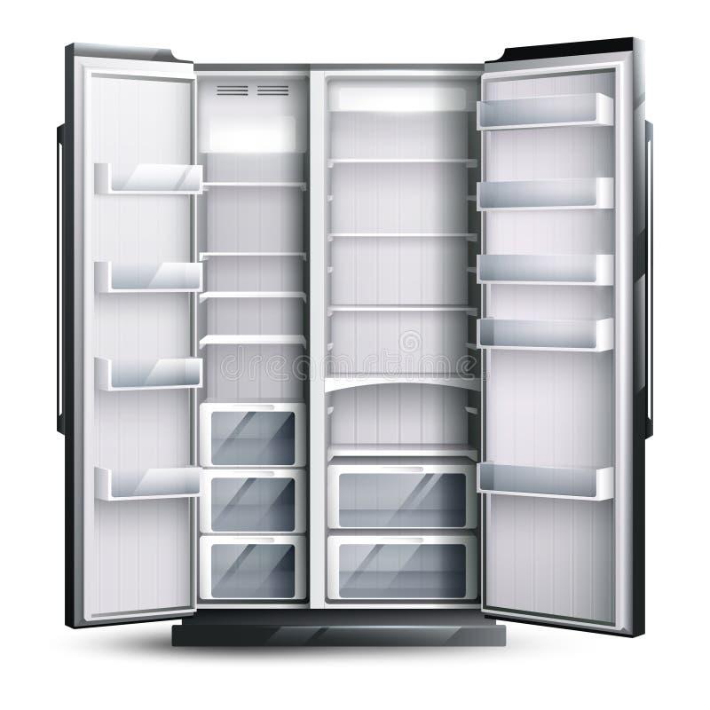 被打开的更宽的空的冰箱 库存例证
