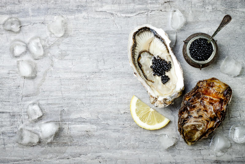 被打开的牡蛎用黑鲟鱼鱼子酱和柠檬在冰在冰在灰色具体背景 顶视图,平的位置 免版税库存照片