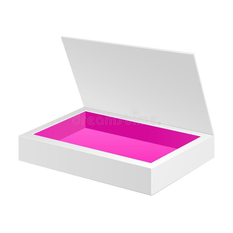 被打开的白色桃红色纸板包裹箱子 礼物糖果 在被隔绝的白色背景 为您的设计准备 向量例证