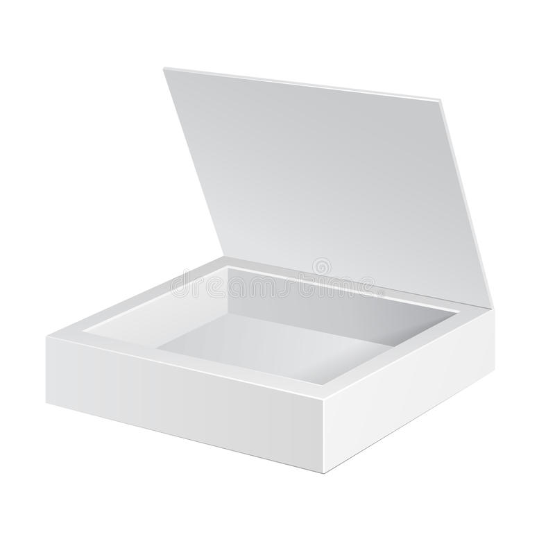被打开的白色纸板包裹箱子 礼物糖果 在空白背景 为您的设计准备 产品装箱 皇族释放例证