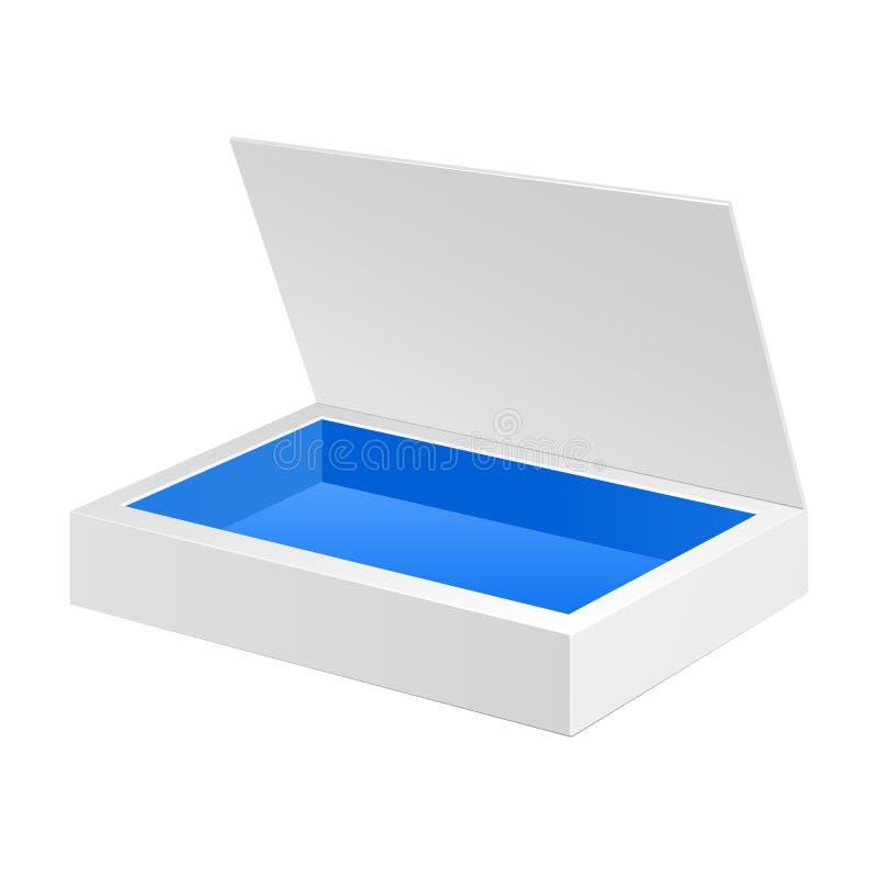 被打开的白色蓝色纸板包裹箱子 礼物糖果 在被隔绝的白色背景 为您的设计准备 库存例证