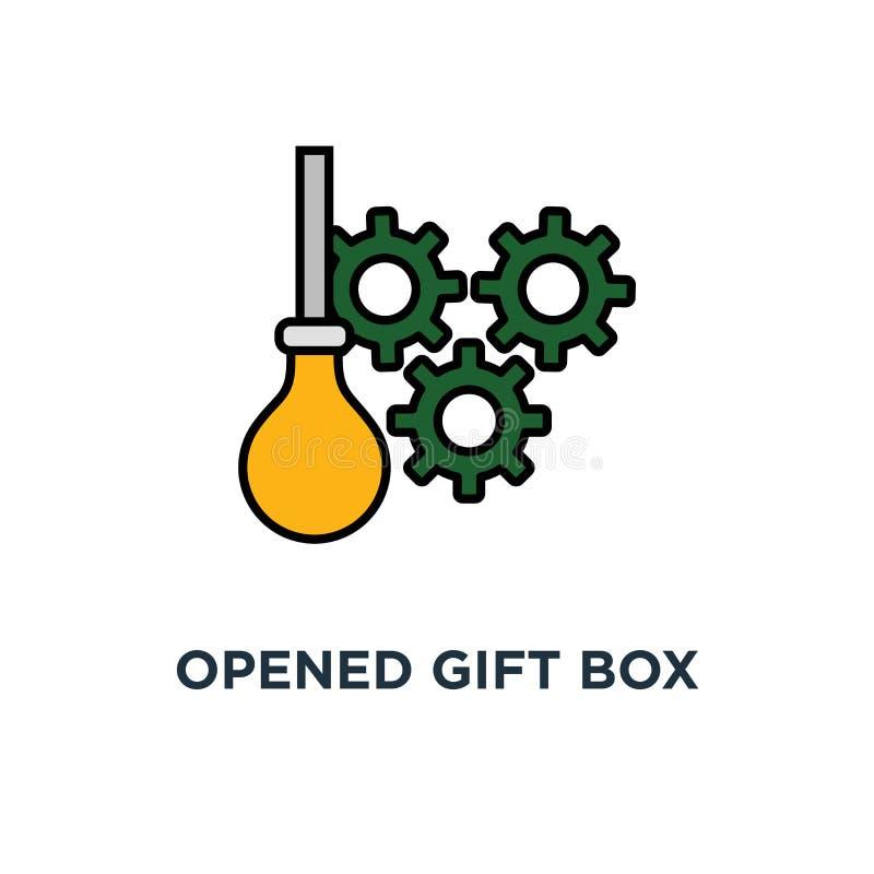 被打开的礼物盒象 惊奇概念标志设计,庆祝事件,惊奇的礼物盒 给礼物 设计传染媒介 向量例证