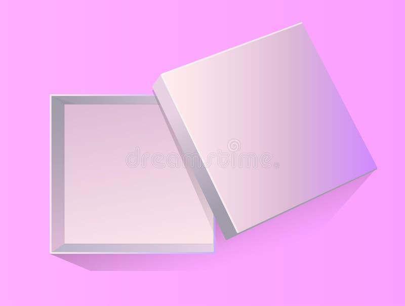 被打开的空的礼物盒的传染媒介3d例证设计、介绍,包装的等的在桃红色背景隔绝了 顶视图 皇族释放例证
