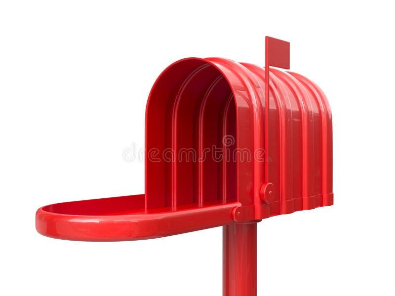 被打开的空的红色邮箱 皇族释放例证