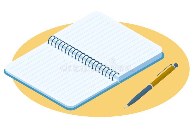 被打开的笔记本的平的等量例证 纸笔记薄ve 库存例证