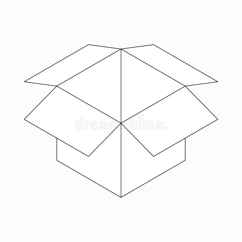 被打开的纸板箱象,等量3d样式 皇族释放例证
