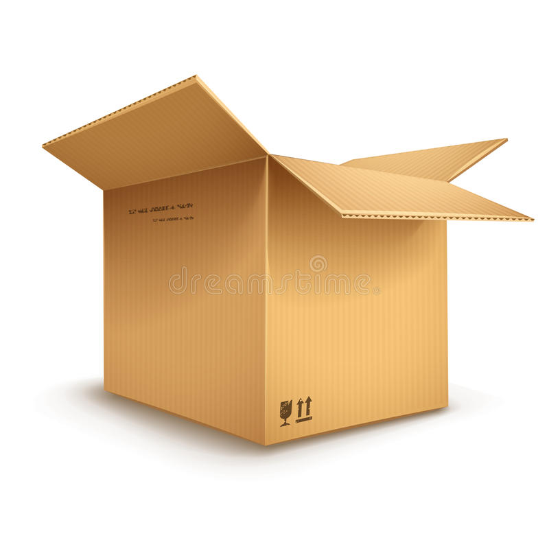 被打开的纸板箱 库存例证