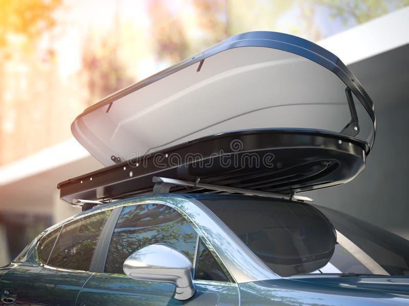 被打开的行李架和现代银色汽车 3d翻译 库存照片