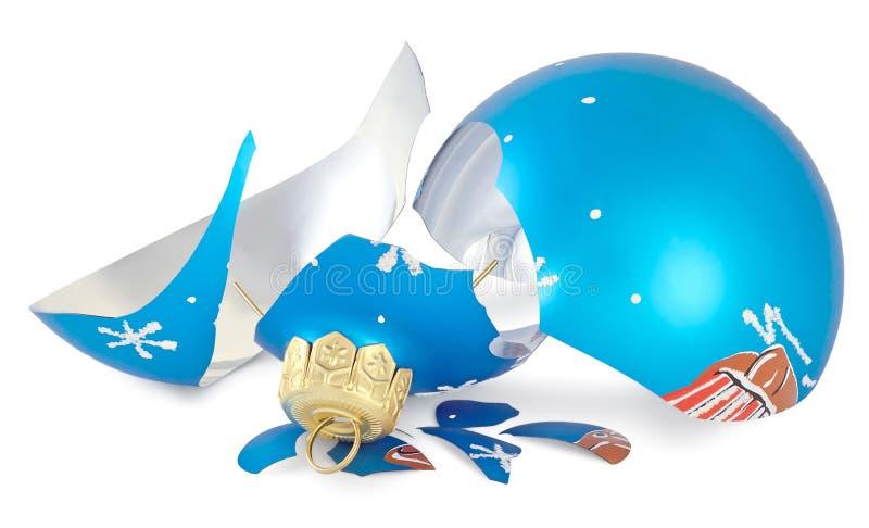 被打碎的圣诞节球 库存照片