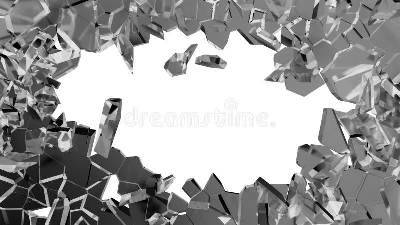 被打碎的或捣毁的玻璃:在白色的锋利的片断 向量例证