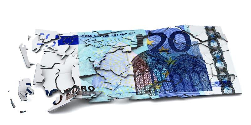 被打碎的欧洲钞票 库存例证