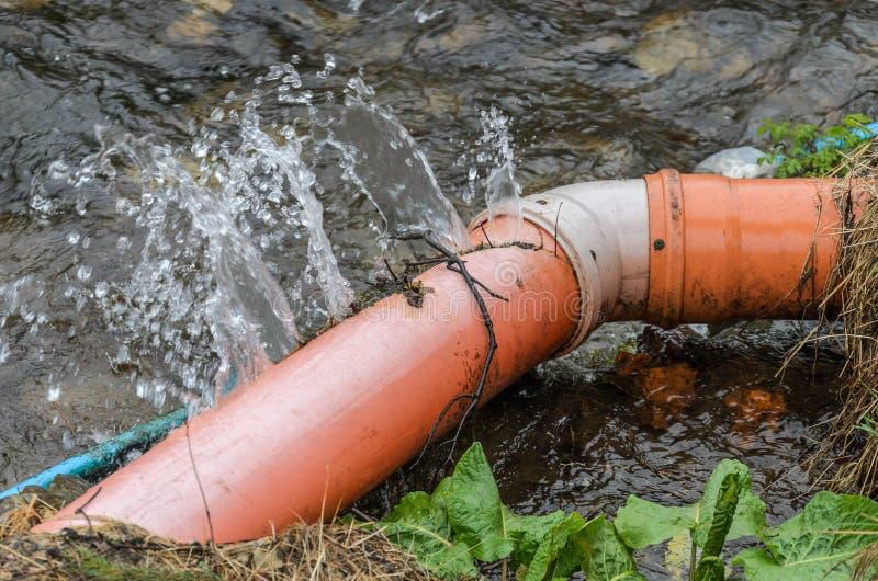 被扭屈的水管破裂了流动在它外面的水 免版税库存照片