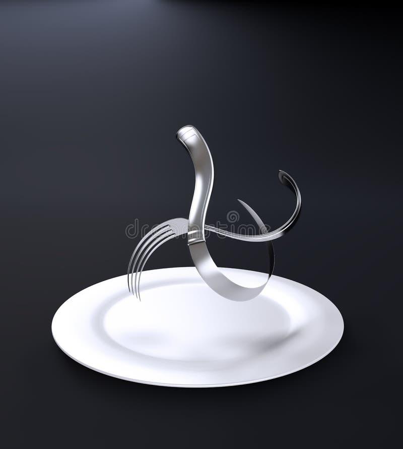 被扭转的刀叉餐具 向量例证
