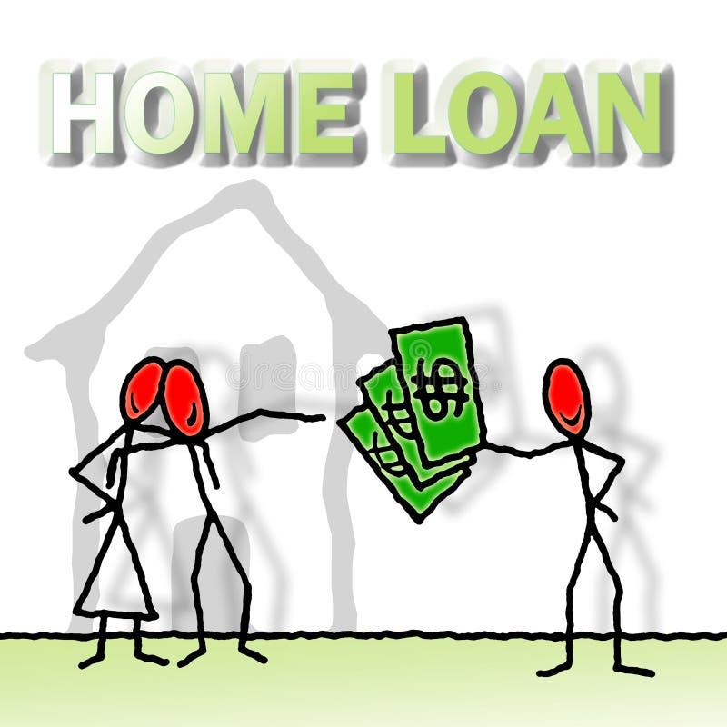 被批准的房屋贷款-与徒手画得出的例证的概念图象  向量例证