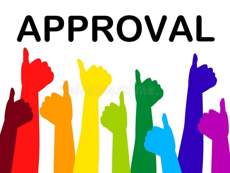 被批准的赞许手段推荐并且通过了 向量例证