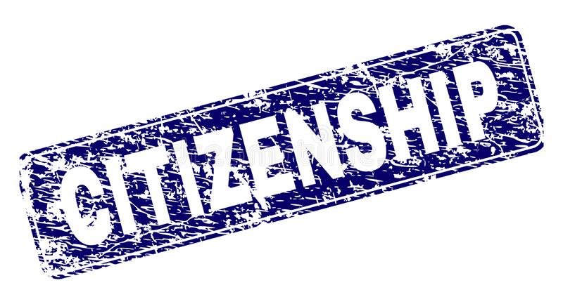 被抓的公民身份构筑了被环绕的长方形邮票 库存例证