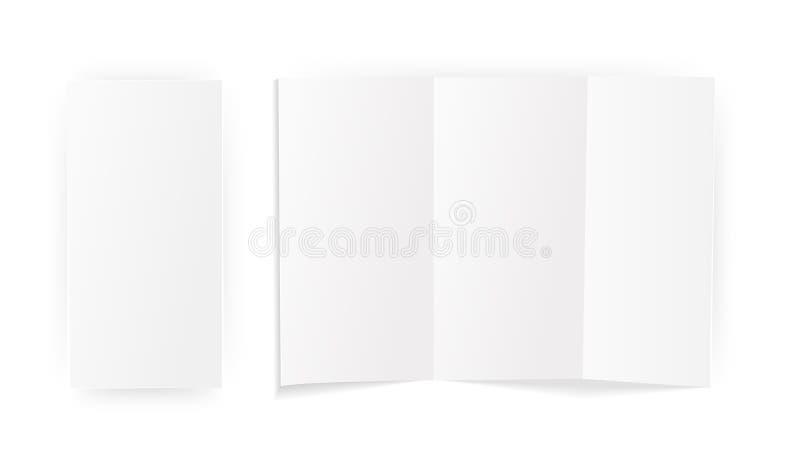 被折叠的一张空白的纸片 模板的嘲笑 背景查出的白色 向量 库存例证