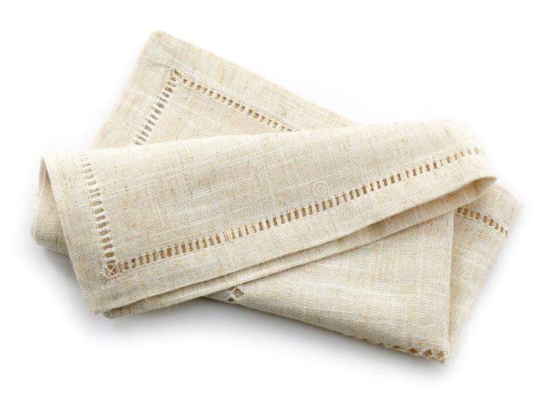 被折叠的亚麻布餐巾 库存照片