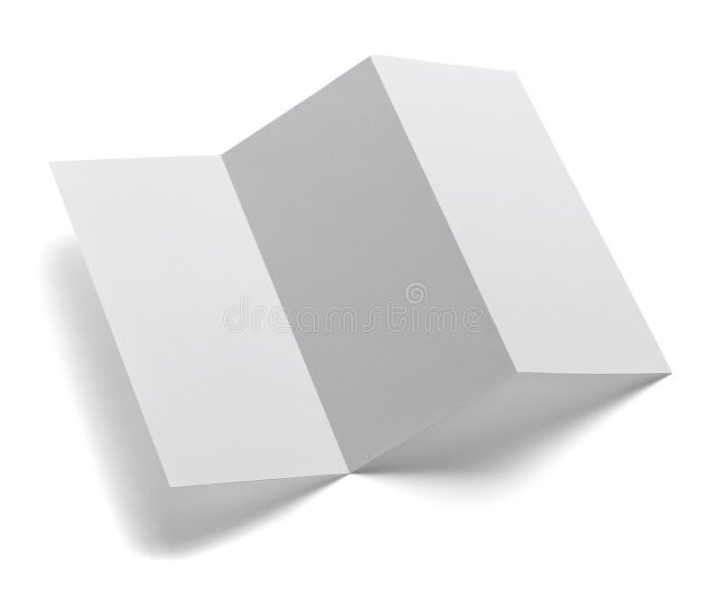 被折叠的传单白色白纸模板书 免版税图库摄影