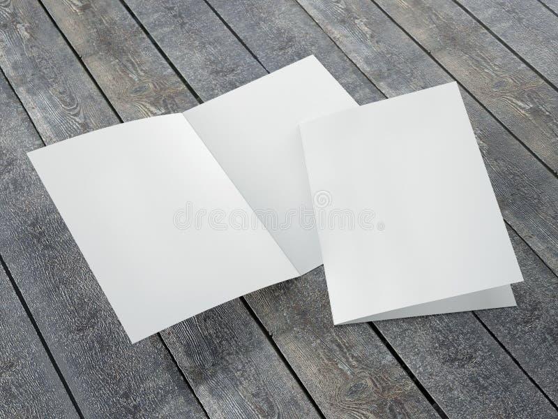 被折叠的小册子A4大小空白的模板  免版税库存图片