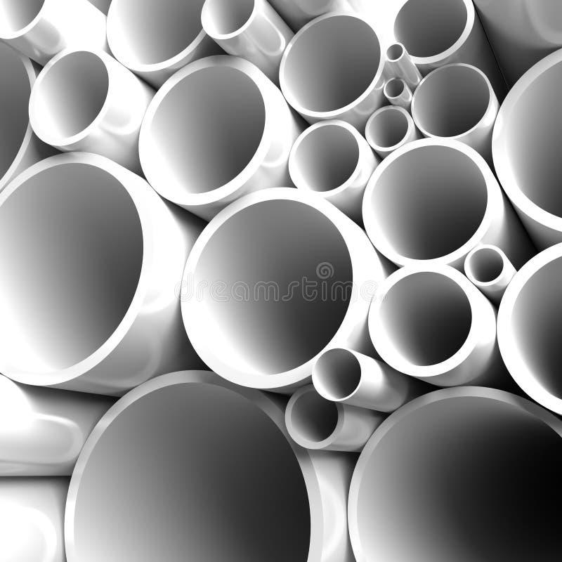 被折叠的批次用管道输送钢 库存例证