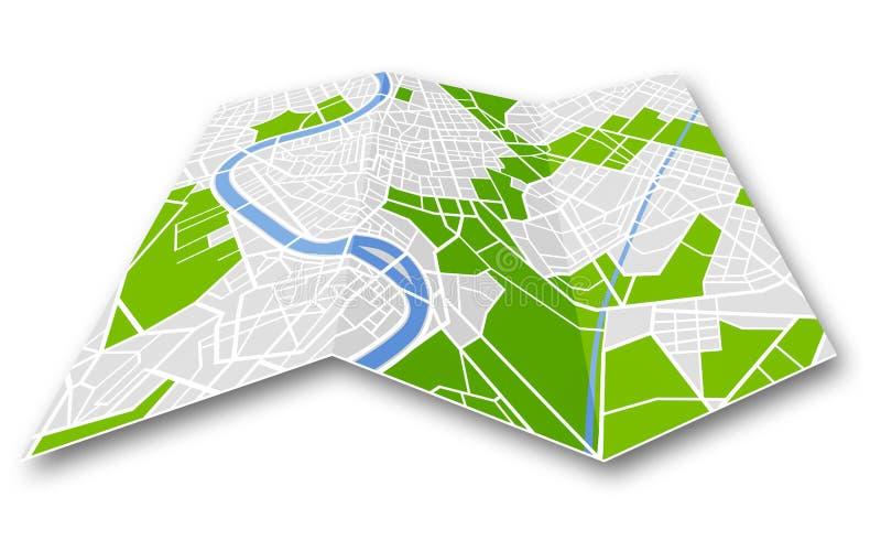 被折叠的普通城市地图 库存例证
