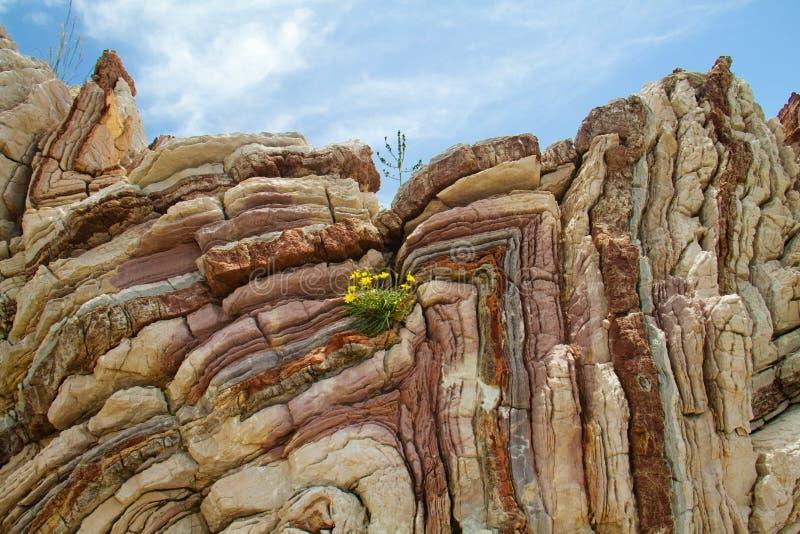被折叠的石灰石 图库摄影