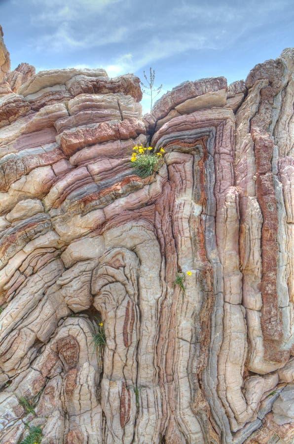 被折叠的石灰石 库存图片