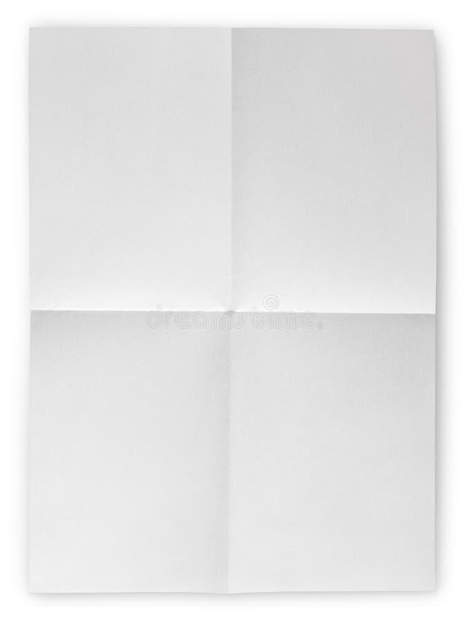 被折叠的空白的纸片 免版税图库摄影