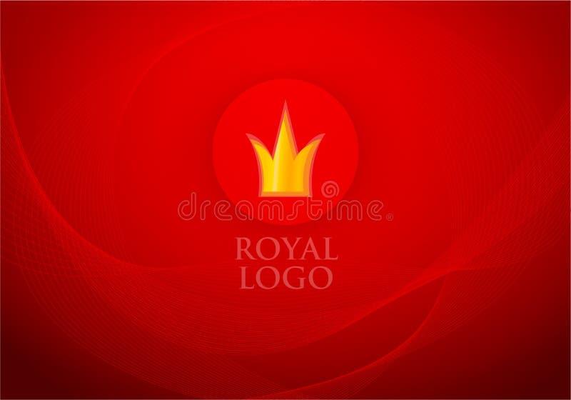 被折叠的红色皇家丝绸和标签与冠在传染媒介背景 向量例证