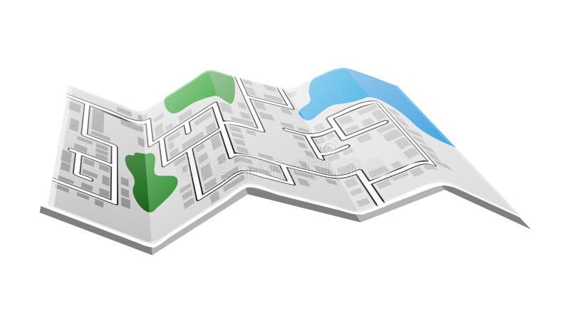 被折叠的纸地图 库存例证