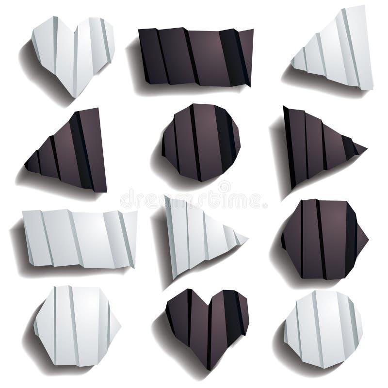 被折叠的纸集合 向量例证