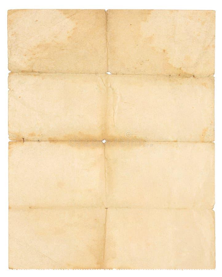被折叠的老纸 免版税库存图片
