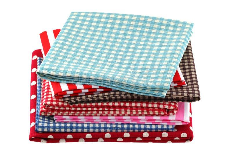 被折叠的织品用不同的样式 免版税图库摄影