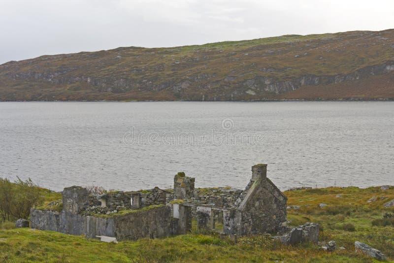 被抛弃的海岸线房子苏格兰人 免版税库存图片