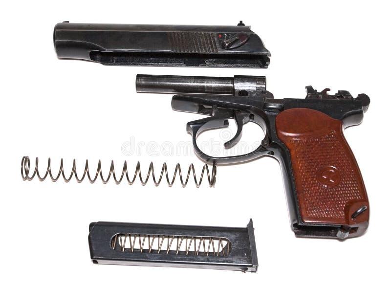 被拆卸的手枪 免版税库存照片