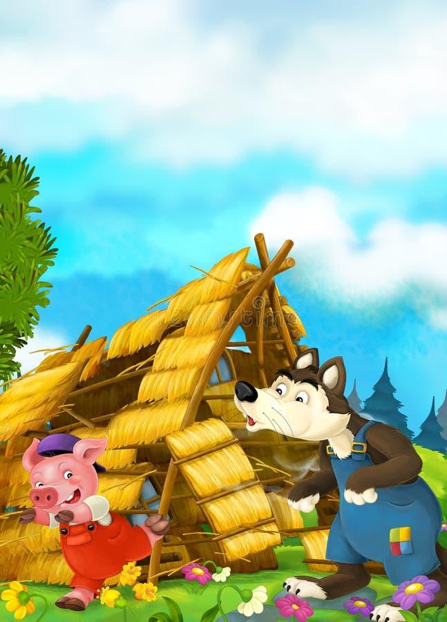 被拆毁的房子动画片场面-狼喘气和猪赛跑 库存例证