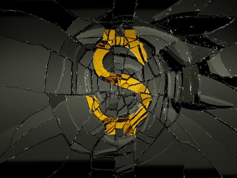 被拆毁的美元标志和残破的玻璃 库存例证