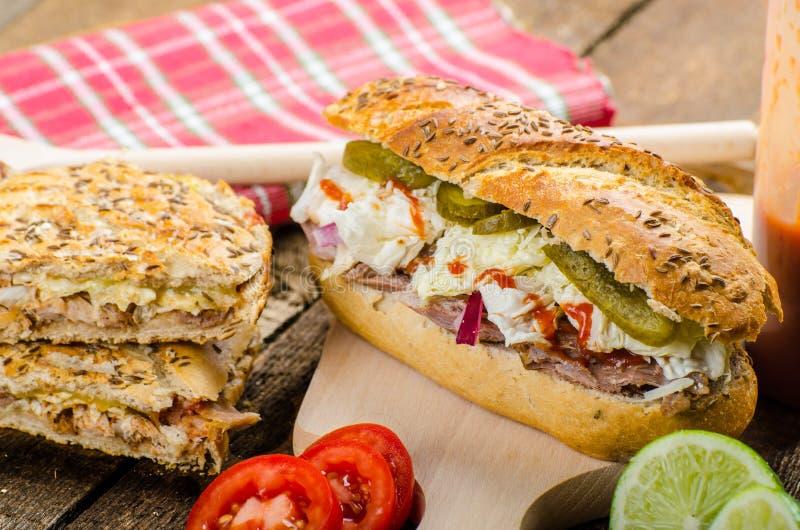 被拉扯的猪肉三明治panini 图库摄影