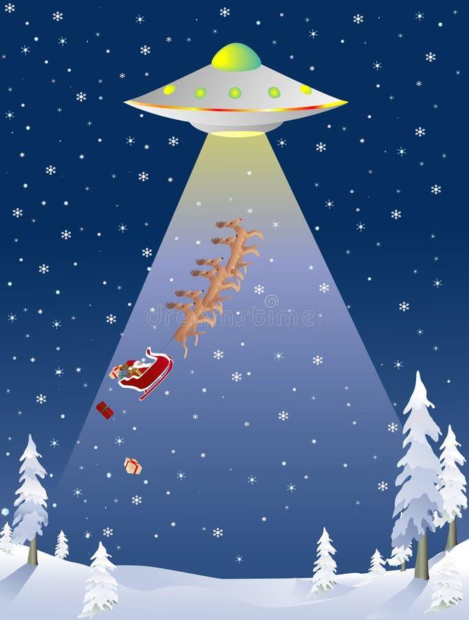 被拐骗的圣诞老人飞碟 向量例证