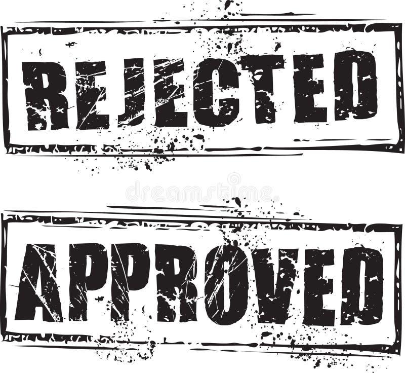 被拒绝的和被审批的印花税 向量例证