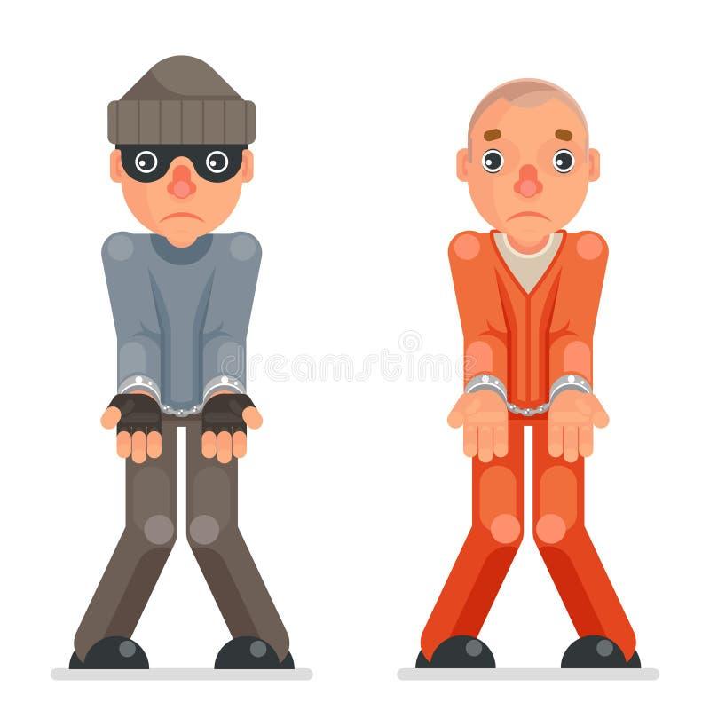 被拘捕的窃贼囚犯犯罪手把被捉住的罪恶贪婪动画片歹徒被夺取的字符平的设计扣上手铐 库存例证