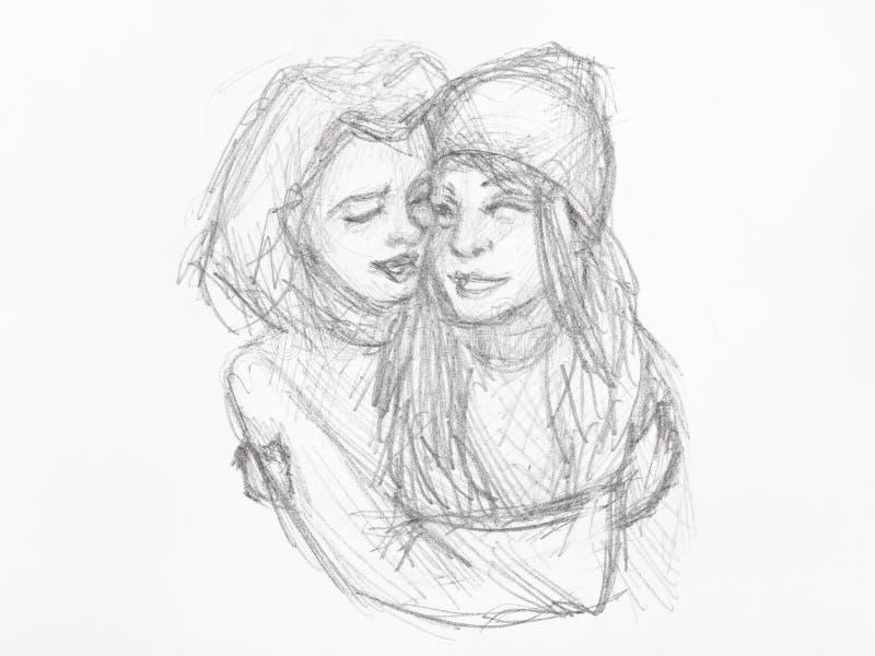 被拥抱的女孩剪影手拉由黑铅笔 皇族释放例证