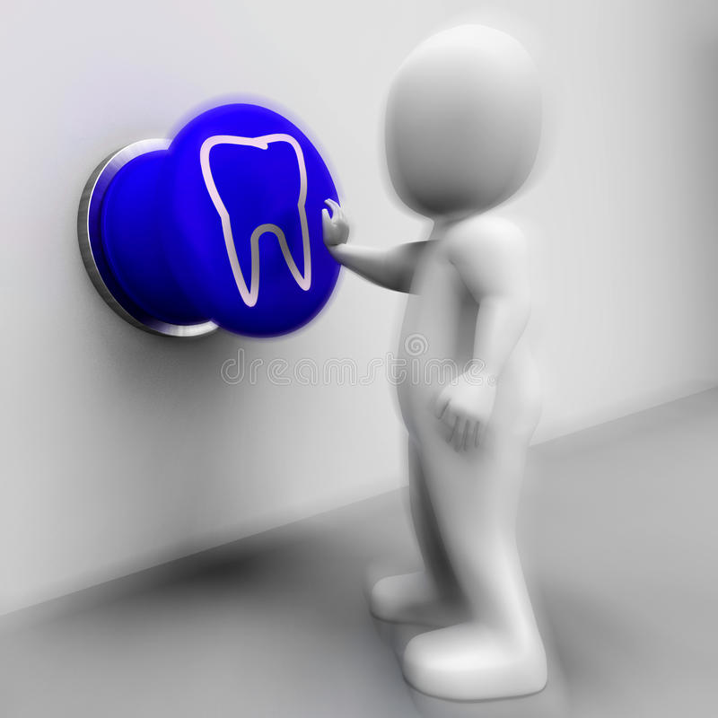 被按的牙意味口头健康或牙医任命 皇族释放例证