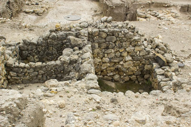 被挖掘的房间在古城Meggido以色列 库存图片