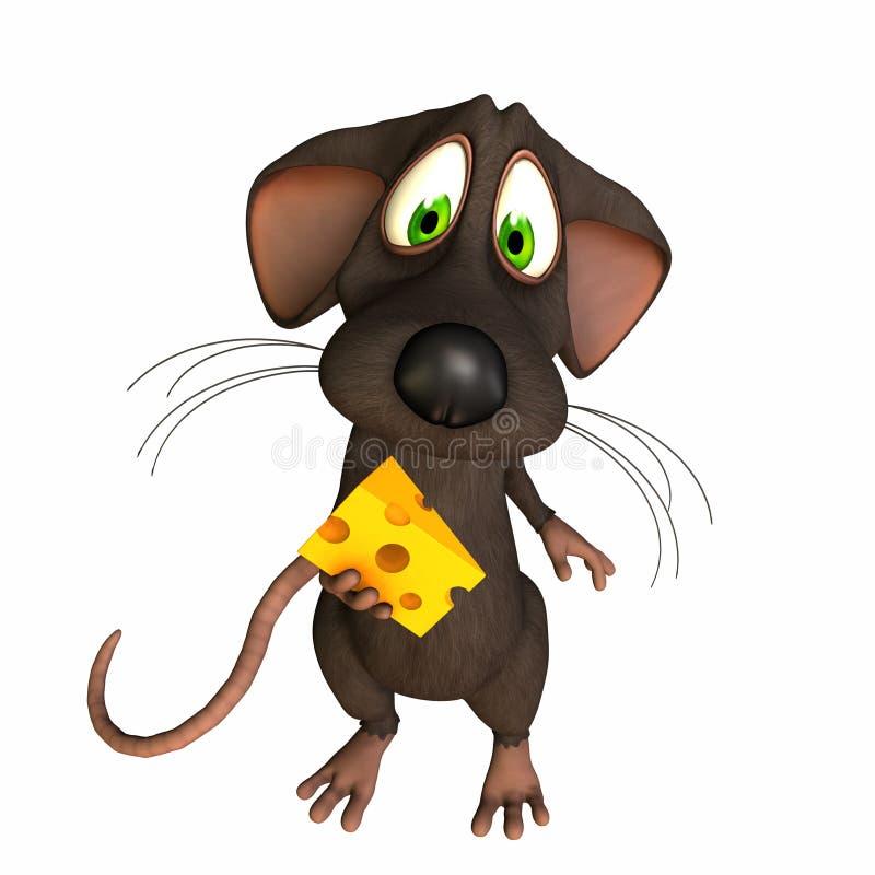 被捉住的干酪鼠标 库存例证