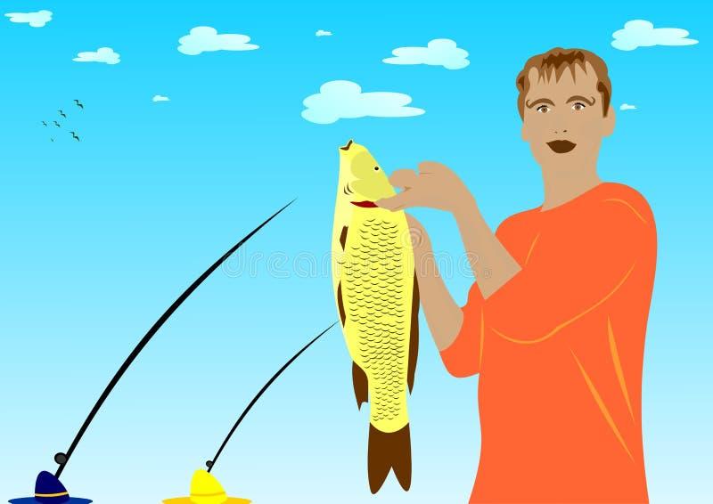 被捉住的鱼 库存例证