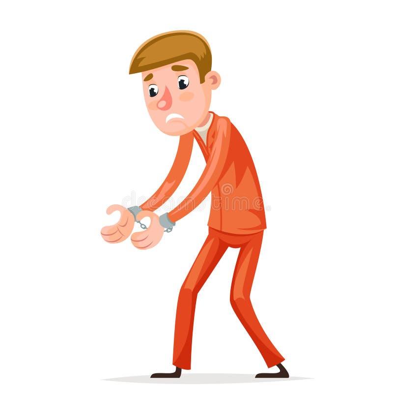 被捕者囚犯被捉住的手铐夜贼强盗窃贼惊吓了人字符被隔绝的象动画片设计传染媒介 向量例证