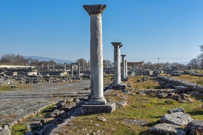 被排行的专栏在古老Philippi,希腊考古学区域  图库摄影